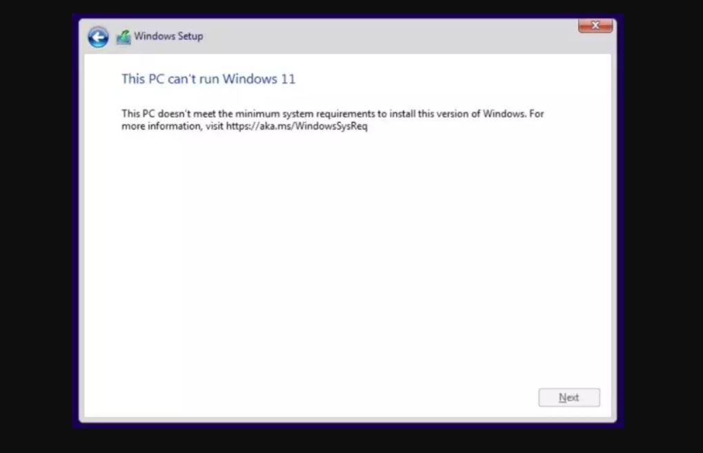 Windows 11 check requirements failed