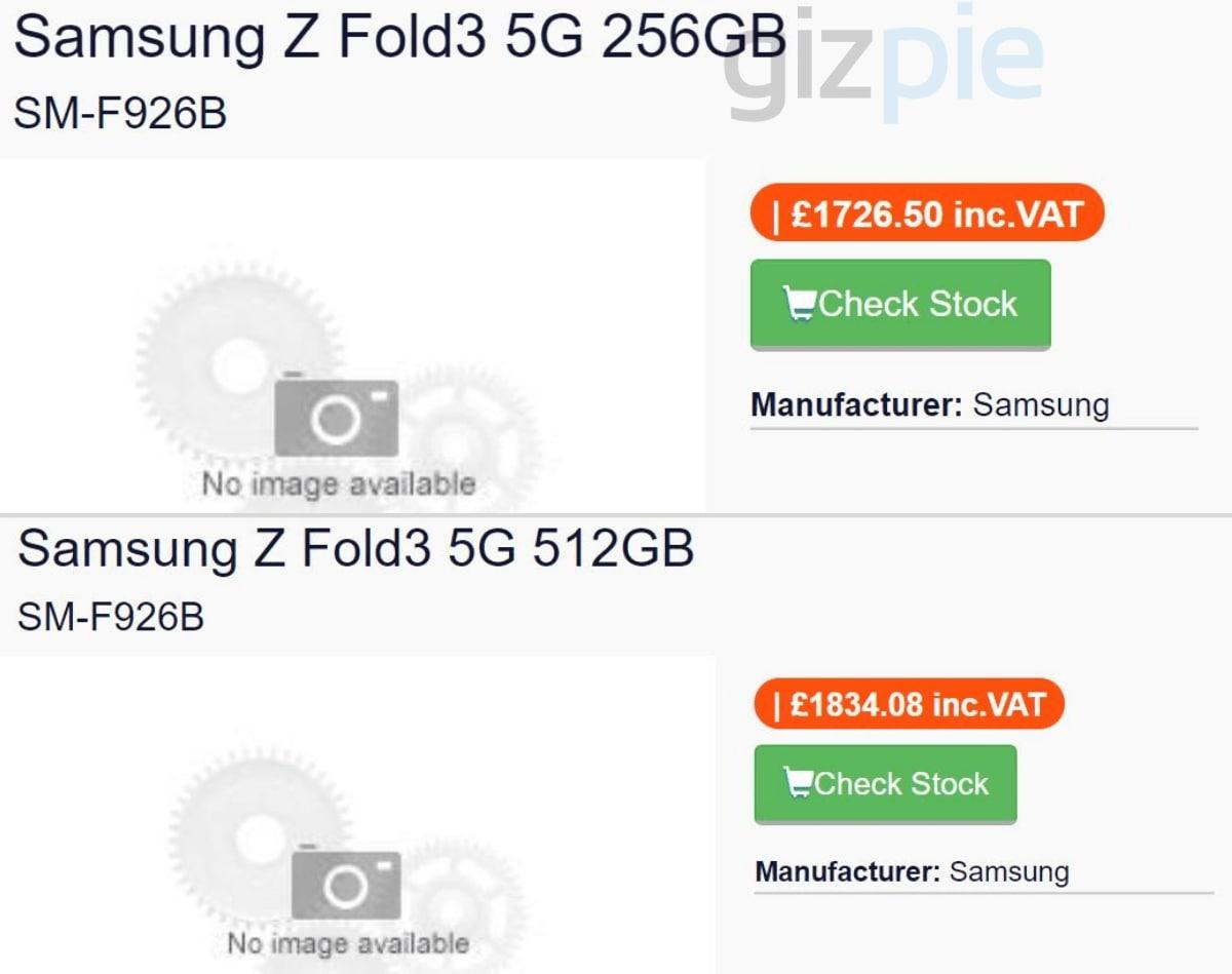 Samsung Galaxy Z Fold 3 price leak