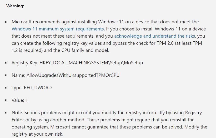 Microsoft shares Windows 11 bypass